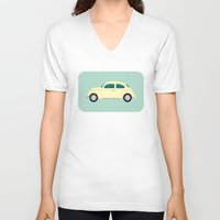 vw V-neck T-shirts featuring VW Beetle by Hand Drawn Creative