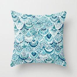 MERM ARMOR Indigo Mermaid Scales Throw Pillow