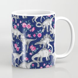 Dinosaurs and Roses on Dark Blue Purple Coffee Mug