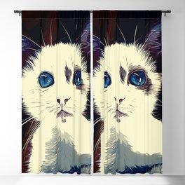 cute cat blue eyes vector art foggy night Blackout Curtain
