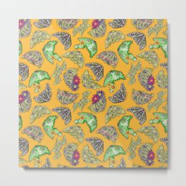 """Oro?"" Cactus with Flower Mustard Metal Print"