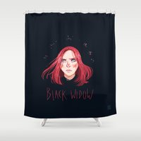 black widow Shower Curtains featuring Black Widow by Galaxyspeaking