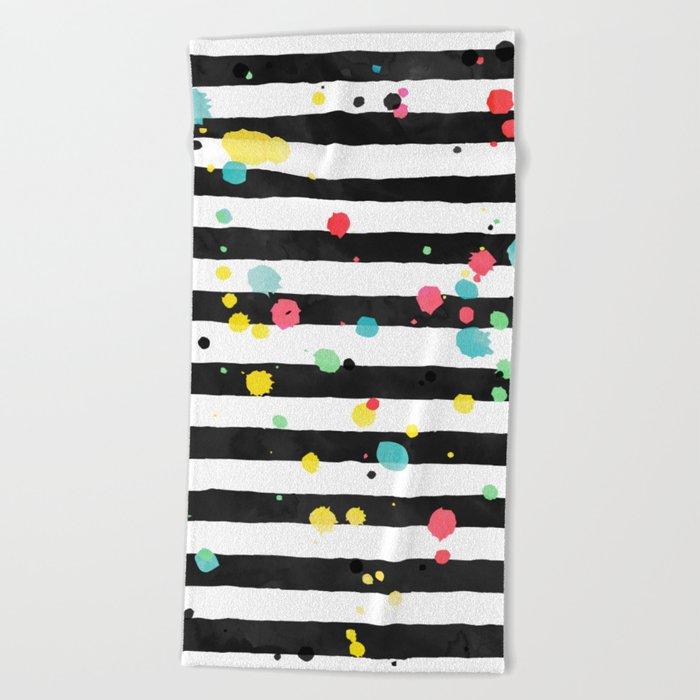 Watercolor splatters on stripes Beach Towel