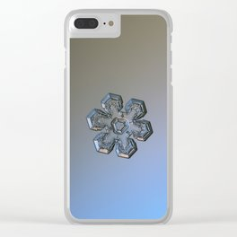 Real snowflake macro photo - Massive silver Clear iPhone Case