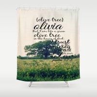 olivia joy Shower Curtains featuring Olivia by KimberosePhotography