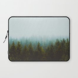Misty Pine Forest Green Blue Hues Minimalist Photography Laptop Sleeve