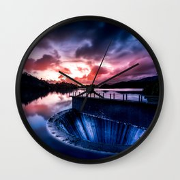 Reservoir at sunset Wall Clock
