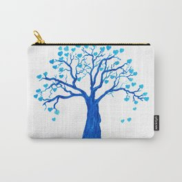 Blue Heart Tree Carry-All Pouch