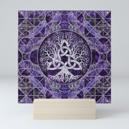 Tree of life with Triquetra Amethyst and silver Mini Art Print