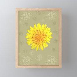Yellow Dandelion Sun Vintage Floral Backdrop Framed Mini Art Print
