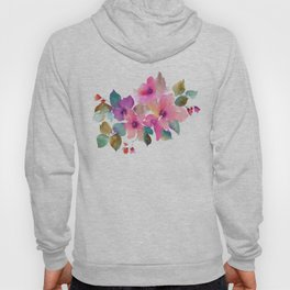 Lovely pink flowers. Watercolor florals Hoody