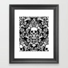 Skull Damask Framed Art Print