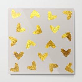 gold heart pattern gray Metal Print
