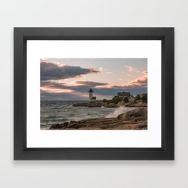 Annisquam Lighthouse sunset Framed Art Print
