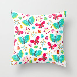 Easter Eggs And Butterflies Colorful Spring Pattern Throw Pillow