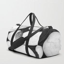 Zen White Stones On A Black Background #decor #society6 #buyart Duffle Bag