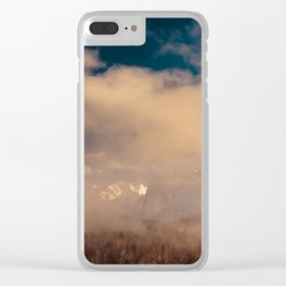 Mangart capped by the fog in a winter day Clear iPhone Case