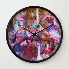 Carousel Horse Expressionist Painting Wall Clock