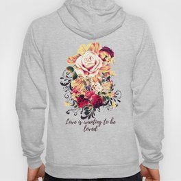 Roses and lilac. Beautiful victorian design on blue Hoody