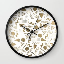 Retro abstract geometrical faux gold white 80'spattern Wall Clock