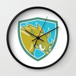Razorback Head Charge Shield Cartoon Wall Clock