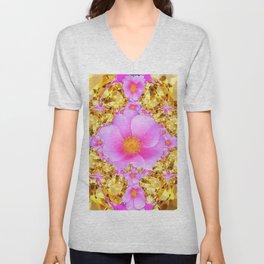 November Citrine Gems & Pink Roses Art Unisex V-Neck
