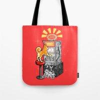 shiba Tote Bags featuring Shiba Slots by  terrorbunnystudios
