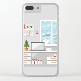 Christmastime office interior Clear iPhone Case