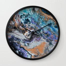 Molten Time (flow art on canvas) Wall Clock