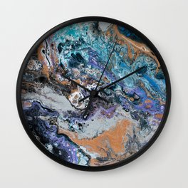 Molten Time (flow art on canvas) Wall Clock