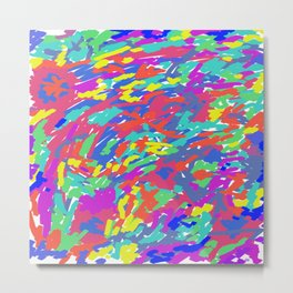'Splattering of 80's' Abstract Digital Painting Print Metal Print