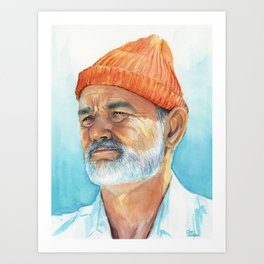 Steve Zissou Art Life Aquatic Bill Murray Watercolor Portrait Art Print