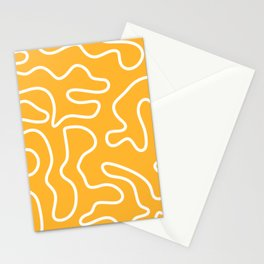 Squiggle Maze Abstract Minimalist Pattern in White and Bright Mustard Yellow Stationery Cards