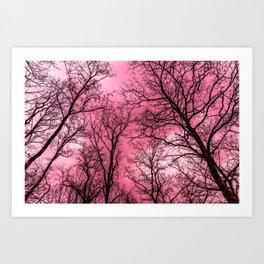 Creepy forest, pink sky Art Print