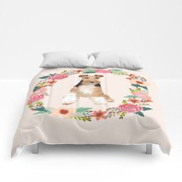 wite fox terrier floral wreath dog breed pure breed pet portrait Comforters