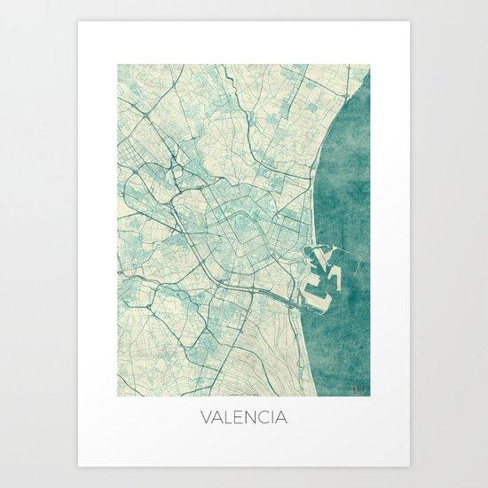 Valencia Map Blue Vintage Art Print