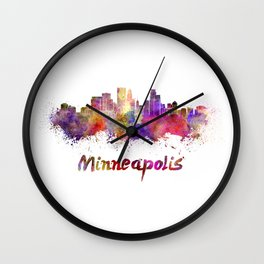 Minneapolis skyline in watercolor Wall Clock