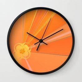 Abstract Golden Sun Flower Wall Clock