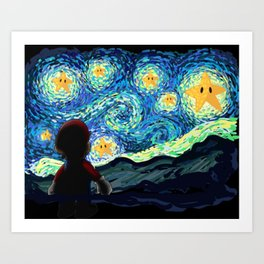 Special Man in Starry Night Art Print