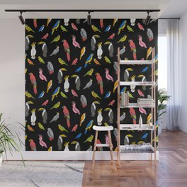 Tropical birds jungle animals parrots macaw toucan pattern Wall Mural