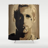 ryan gosling Shower Curtains featuring Ryan Gosling TPBTP by Andy Rogerson