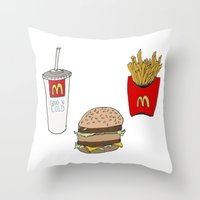 mac Throw Pillows featuring Big Mac by Onvit Kwon