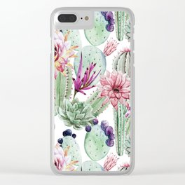 Watercolor Cacti, Opuntia, Colorful, Desert, Tropic Clear iPhone Case