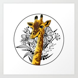 Cute Giraffe illustration Art Print