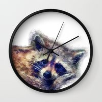 raccoon Wall Clocks featuring Raccoon  by jbjart