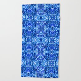 Gentle Clarity Blue Floral Beach Towel
