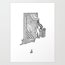 Rhode Island State Map Illustration Art Print
