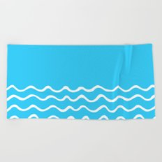 Simple aqua and white handrawn waves 1 - for your summer on #Society6 Beach Towel