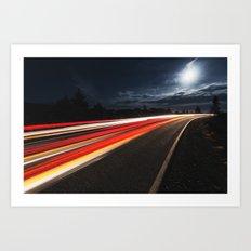 Moonlit Drive Art Print