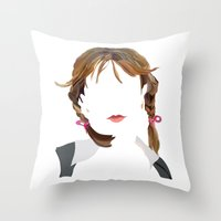 britney Throw Pillows featuring Britney by Bethany Mallick